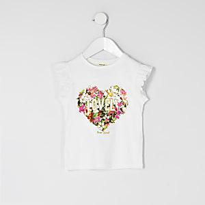 Mini - Wit T-shirt met 'lovely'-tekst en bloemenprint voor meisjes