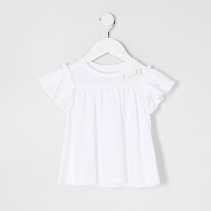 Mini girls white 'Lovely' frill t-shirt