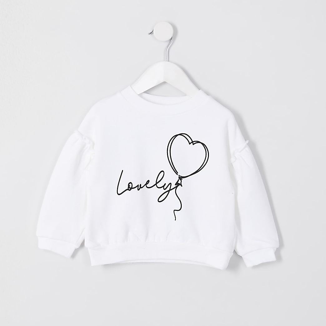 Mini girls white 'lovely' print sweatshirt