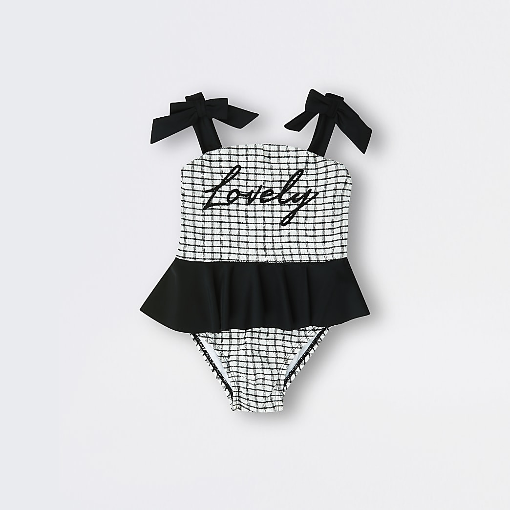 Mini girls white 'Lovely' shirred swimsuit