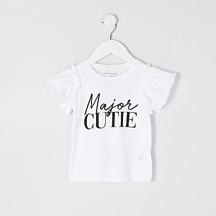 Mini girls white 'Major Cutie' t-shirt