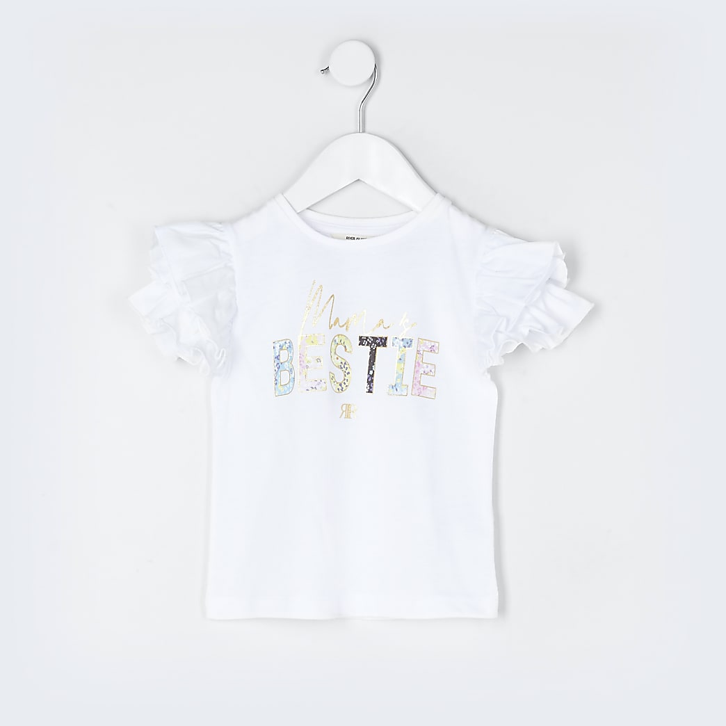 Mini girls white 'Mamas bestie' t-shirt