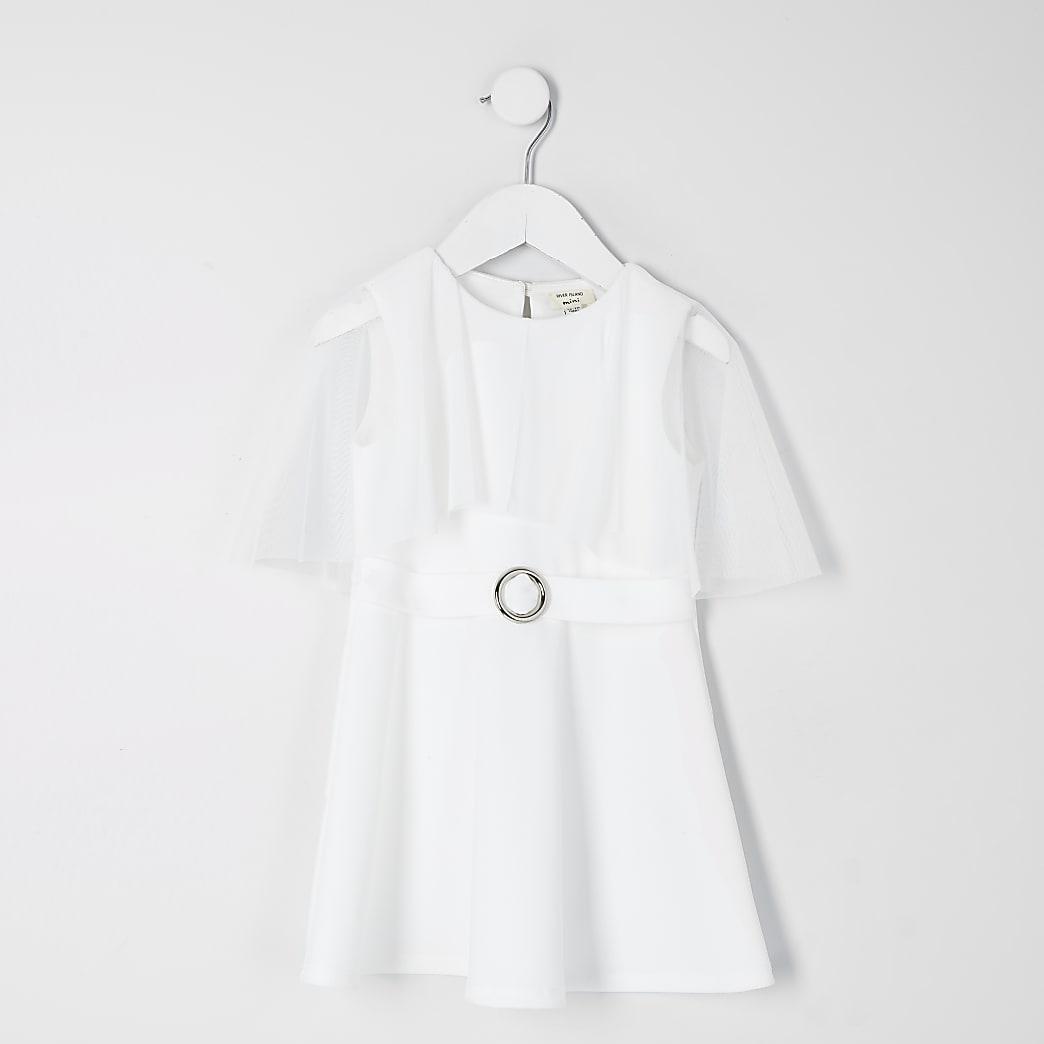 Mini girls white mesh cape skater dress