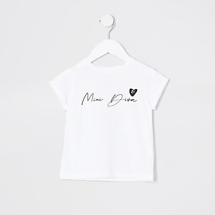 Mini girls white 'Mini diva' t-shirt