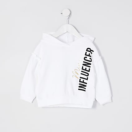 Mini girls white 'Mini influencer' hoodie