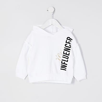 Mini girls white 'Mini influencer' hoodie