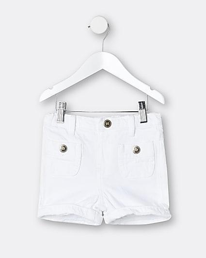 Mini girls white mom shorts