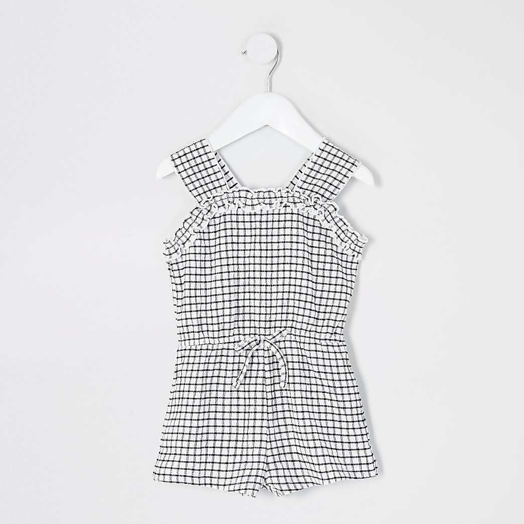 Mini girls white mono check frill playsuit