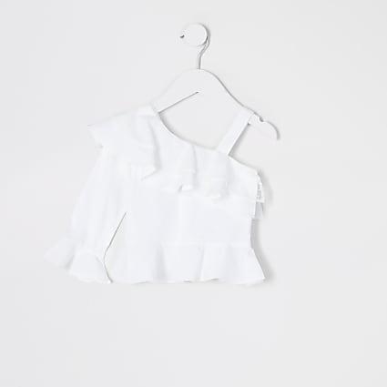 Mini girls white one shoulder poplin top