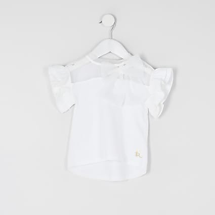 Mini Girls white organza bow T-shirt