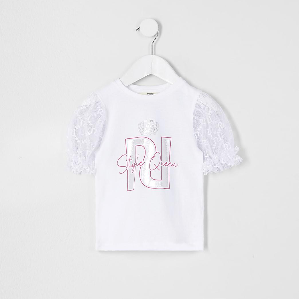 Mini girls white organza puff sleeve t-shirt
