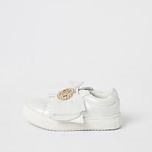 Mini - Witte RI sneakers met organza strik voor meisjes