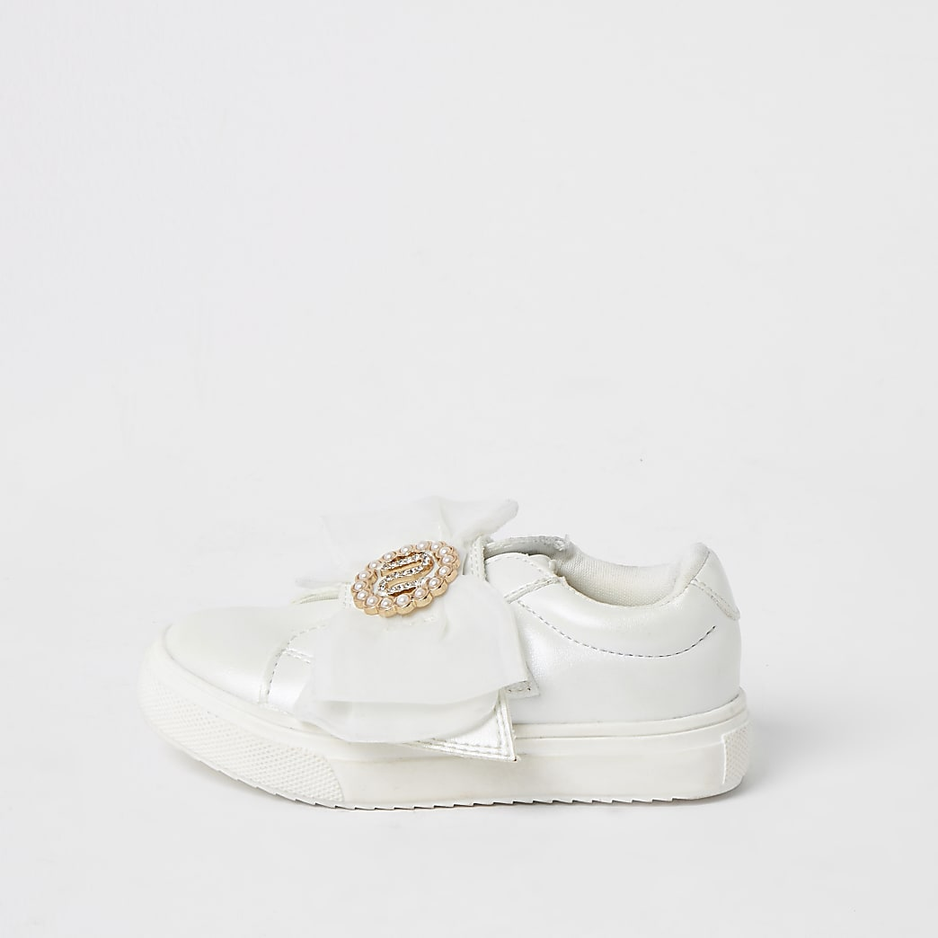 Mini girls white organza RI bow trainers