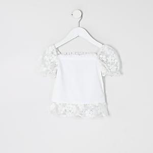 Mini – Weißes Oberteil mit Organza-Ärmeln und Rüschen für Mädchen
