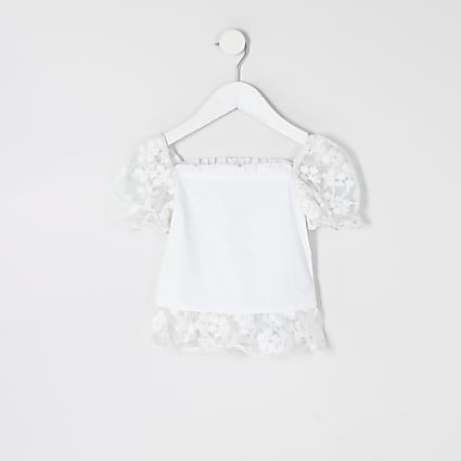 Mini girls white organza sleeve frill top