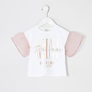 T-shirt avec manches en organzablanc Mini fille