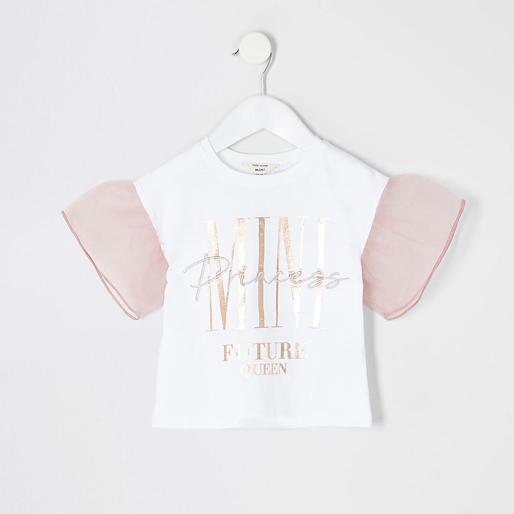 Mini - Wit T-shirt met organzamouwen voor meisjes