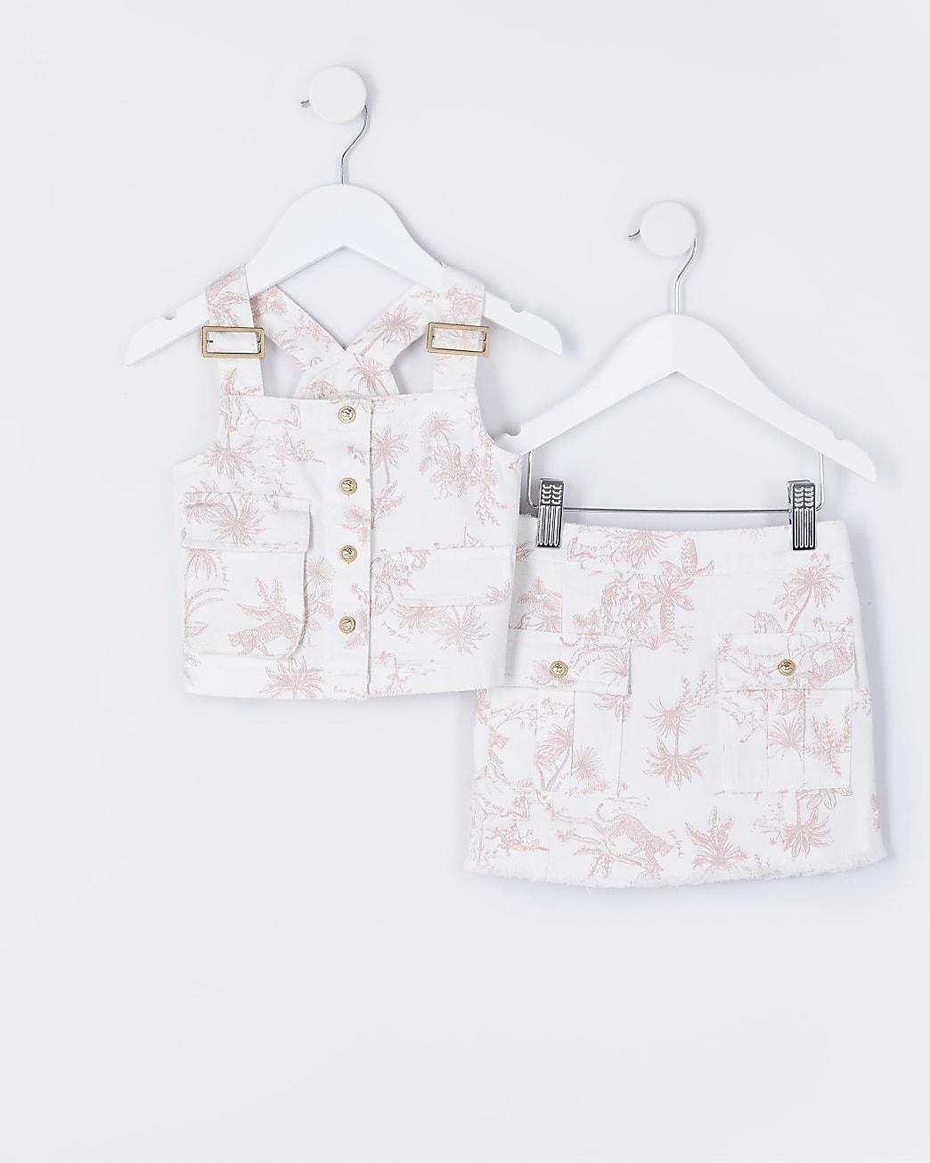 Mini girls white palm print utility outfit