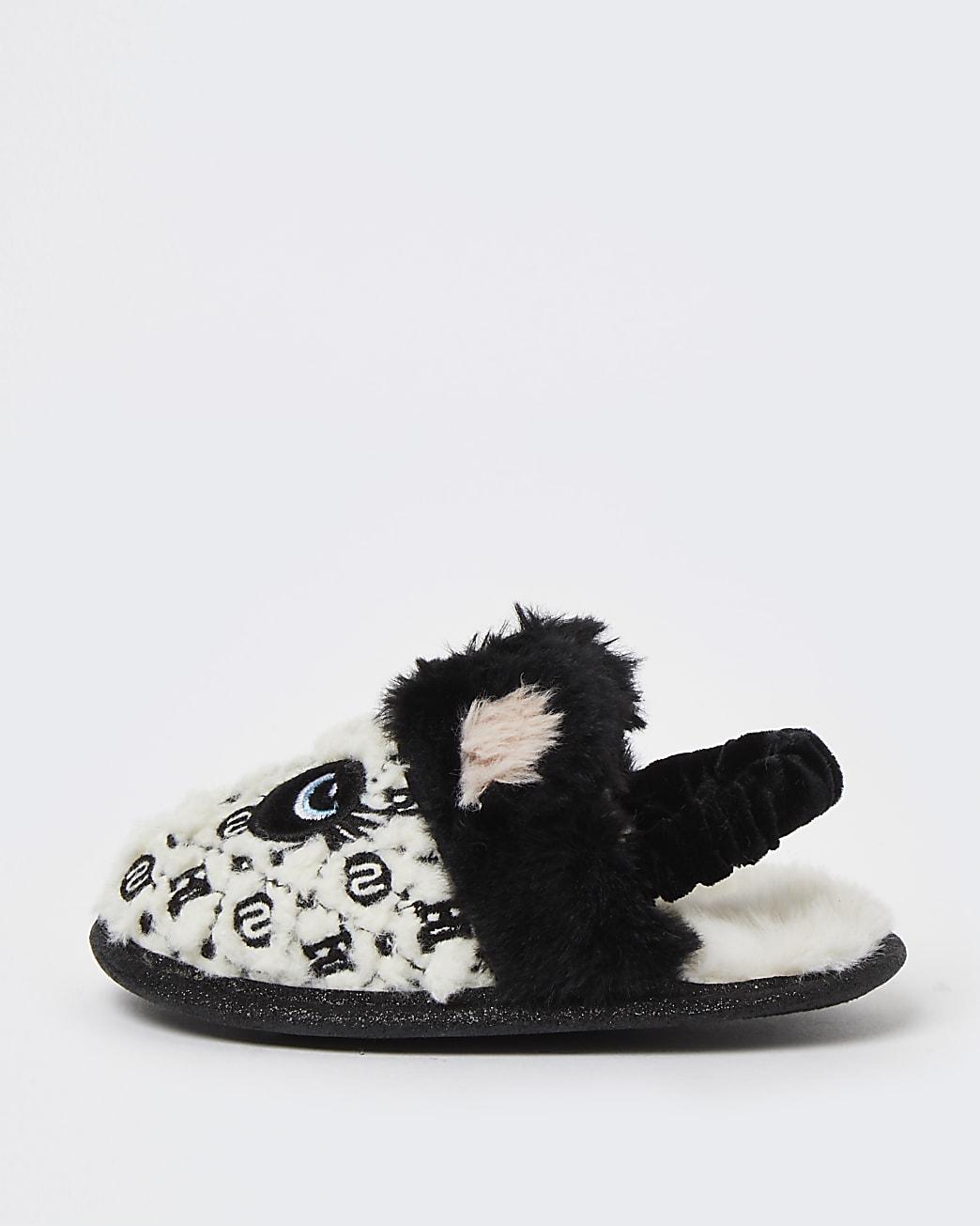 Mini girls white panda faux fur slippers