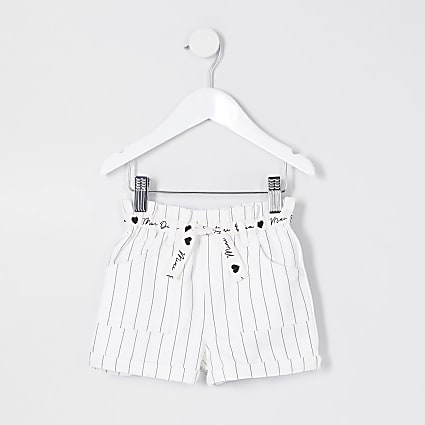 Mini girls white paperbag stripe shorts