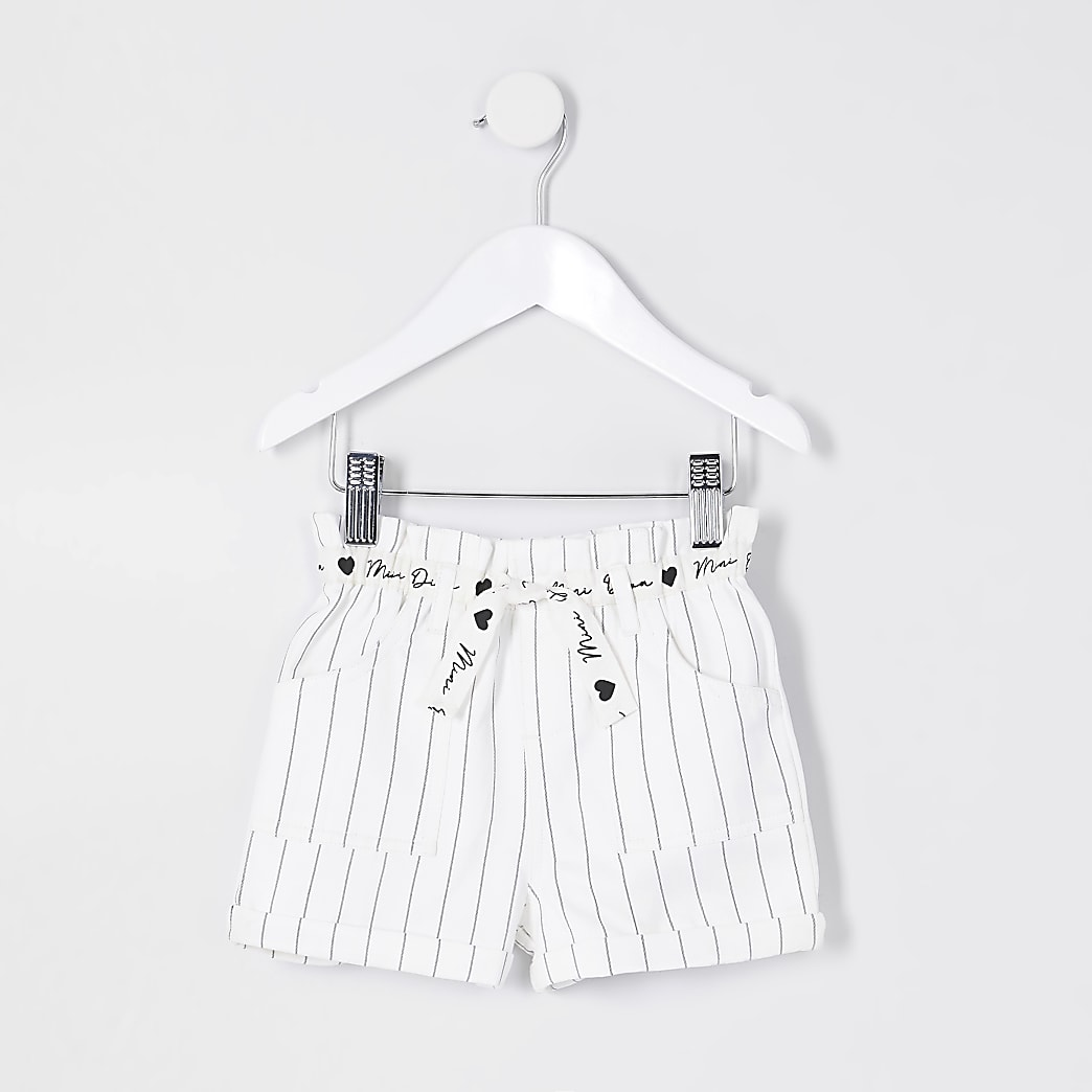 Mini girls white paperbag stripe shorts