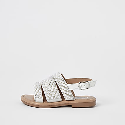 Mini girls white pearl embellished sandals