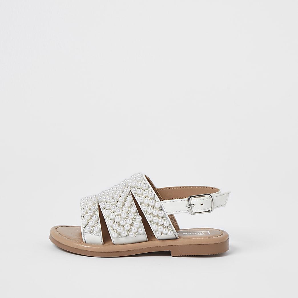 Mini girls white pearl embellished sandals