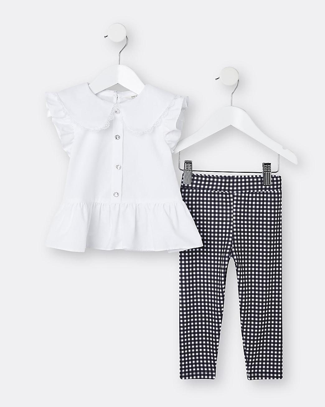 Mini girls white peplum shirt and legging set