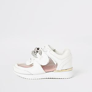 Mini – Weiße Mädchen-Sneaker mit Schmuckstein aus Plexiglas