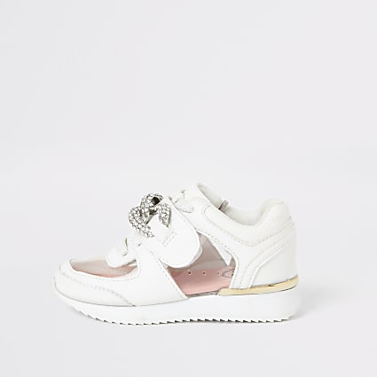 Mini girls white perspex diamante trainers