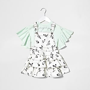 Mini girls white pinafore dress outfit