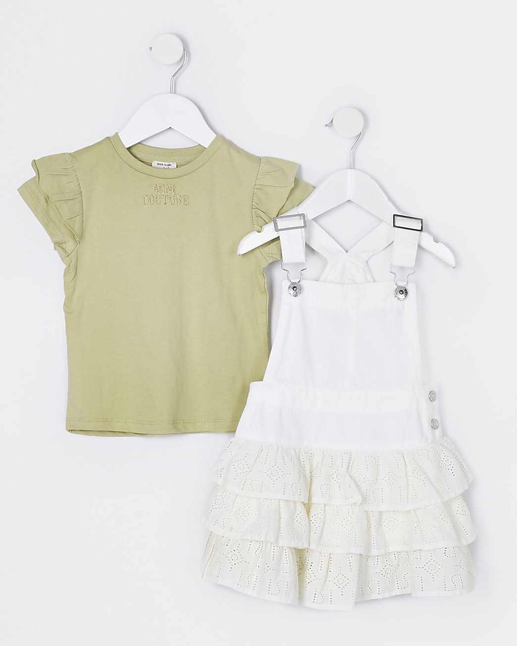 Mini girls white pinny frill dress outfit