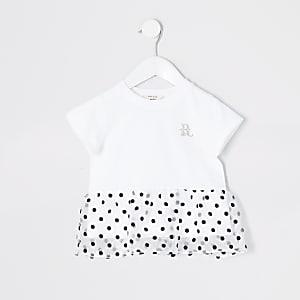 Mini - Witte organza top met stippen op het peplum voor meisjes