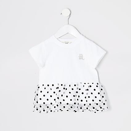 Mini girls white polka dot organza peplum top