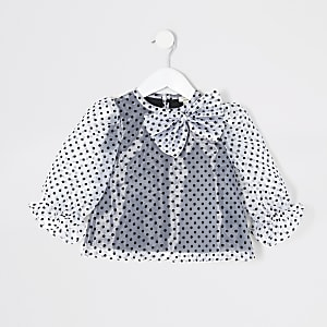Top blanc à pois en organza Mini fille