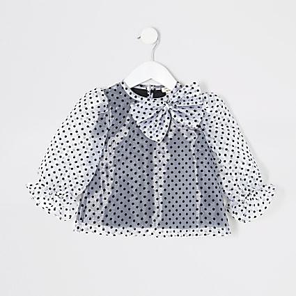 Mini girls white polka dot organza top