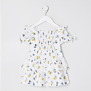 Mini girls white poplin floral print dress