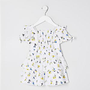 Mini – Weißes Poplinkleid mit Blumenprint
