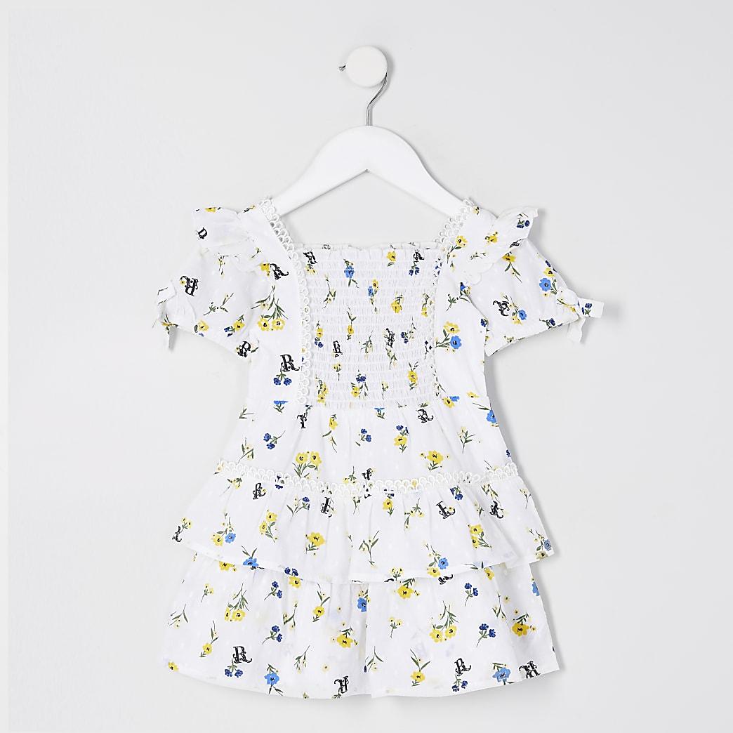 Mini girls white poplin floral print dress