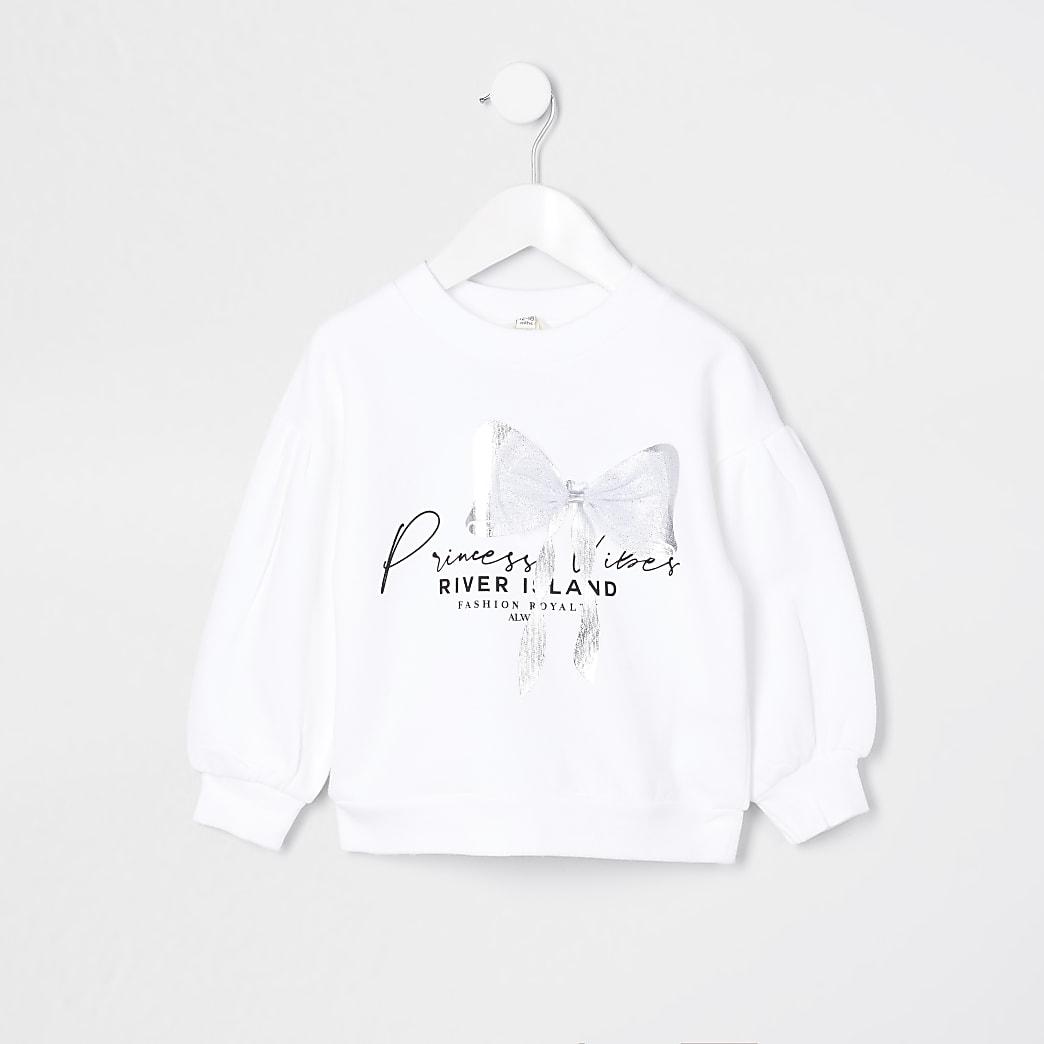 Mini girls white 'Princess' bow sweatshirt