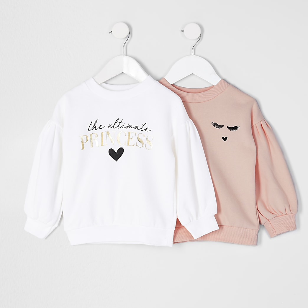 Mini girls white 'Princess' sweatshirt 2 pack