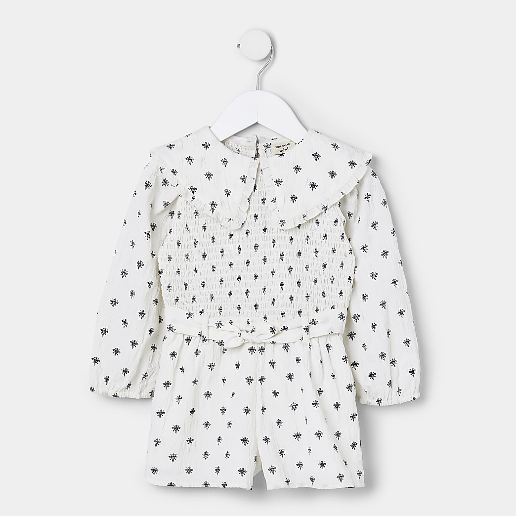 Mini girls white print collar playsuit