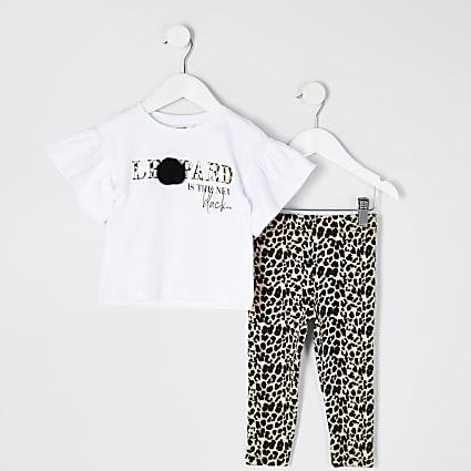 Mini girls white print pom pom T-shirt outfit