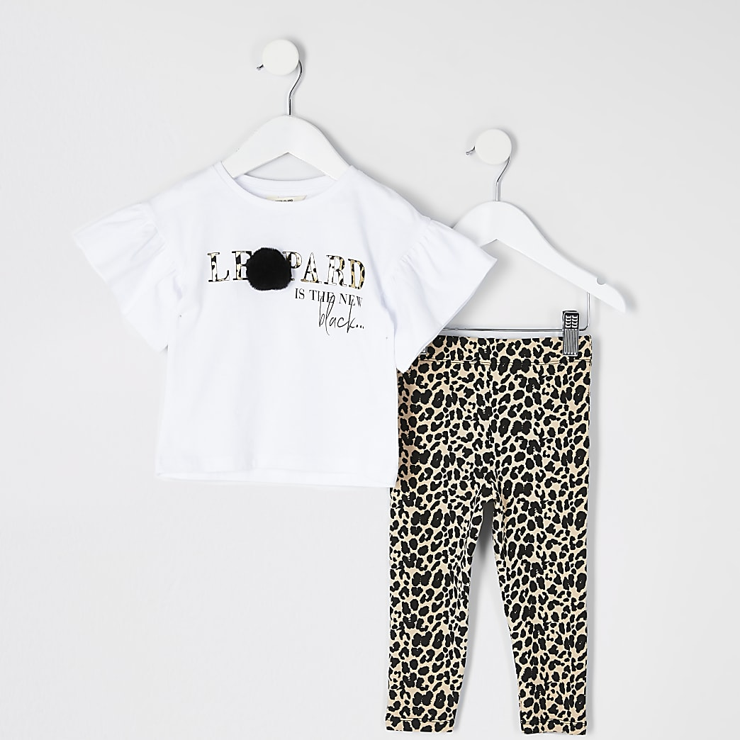 Mini girls white print pom pom T-shirt outfit