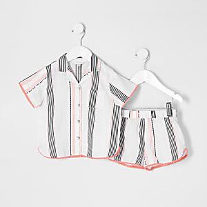 Mini - Witte pyjama outfit met shorts met print voor meisjes