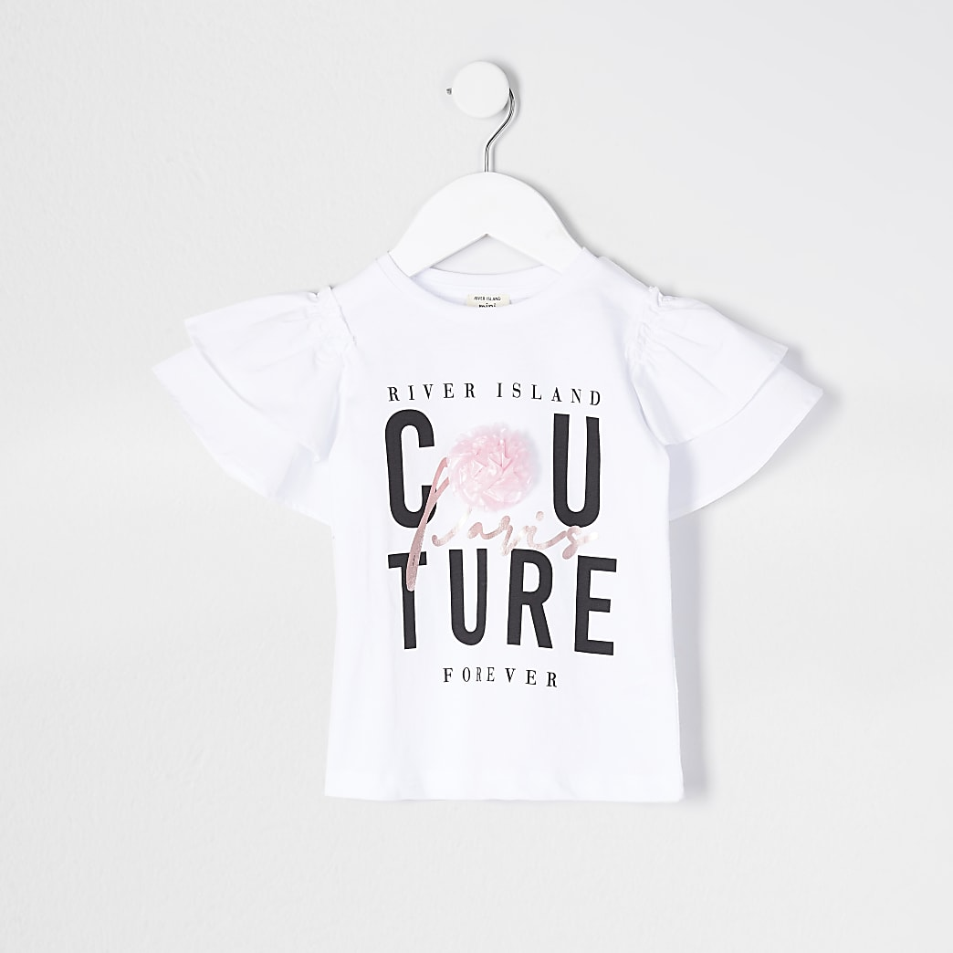 Mini girls white printed 'Couture' t-shirt