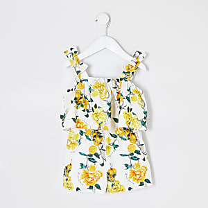 Mini – Weißer Overall mit Muster und Rüschen für Mädchen