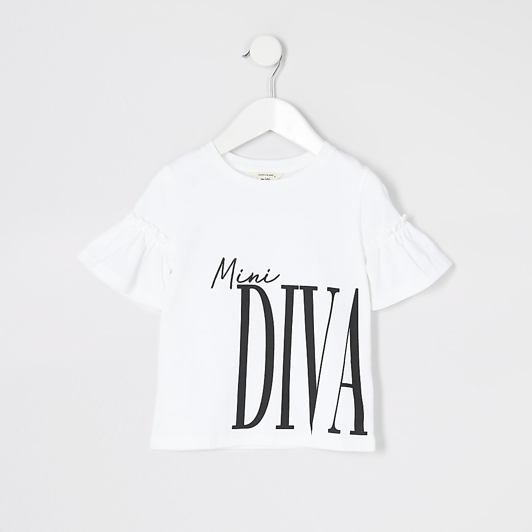 Mini girls white printed frill sleeve T-shirt