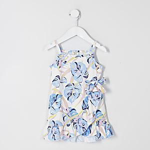 Mini - Witte jurk met print, ruches en overslag voor meisjes