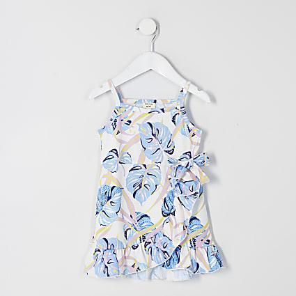 Mini girls white printed frill wrap dress
